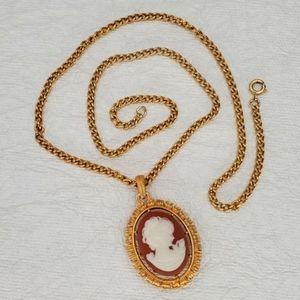 Orange Cameo Pendant Necklace